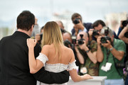 """Quentin Tarantino and Margot Robbie attend thephotocall for """"Once Upon A Time In Hollywood""""  during the 72nd annual Cannes Film Festival on May 22, 2019 in Cannes, France."""