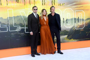Leonardo DiCaprio, Margot Robbie and Brad Pitt attend the 'Once Upon a Time... in Hollywood' UK Premiere at the Odeon Luxe Leicester Square on July 30, 2019 in London, England.