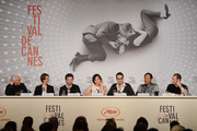 (2nd-L-R) Producer Lene Borglum, actor Matthew Newman, actress Kristin Scott Thomas, director Nicolas Winding Refn, Vithaya Pansringarm and musician Cliff Martinez attend the 'Only God Forgives' Press Conference during the 66th Annual Cannes Film Festival on May 22, 2013 in Cannes, France.