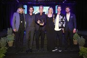 (L-R) Big Kenny of musical duo Big & Rich, owner and CEO of Onsite Miles Adcox, Live Nation's President of Country Touring Brian O'Connell, Hayley Hubbard, Tyler Hubbard of musical duo Florida Georgia Line and Adam Burish attend the 2018 Inspire event by The Onsite Foundationat Marathon Music Works on October 23, 2018 in Nashville, Tennessee.