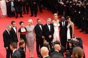 (L-R) Jury Members Olivier Assayas, Jude Law, Nansun Shi, Linn Ulmann, Johnnie To, Jury President Robert De Niro, Jury Members Uma Thurman, Mahamat-Saleh Haroun and Martina Gusman attend the Opening Ceremony at the Palais des Festivals during the 64th Cannes Film Festival on May 11, 2011 in Cannes, France.