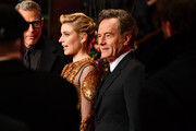 (R-L) Bryan Cranston, Greta Gerwig and Jeff Goldblum are see at the Opening Ceremony & 'Isle of Dogs' premiere during the 68th Berlinale International Film Festival Berlin at Berlinale Palace on February 15, 2018 in Berlin, Germany.