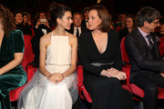 """(L-R) Margaret Qualley, Sigourney Weaver and director Philippe Falardeau at the opening ceremony and """"My Salinger Year"""" premiere during the 70th Berlinale International Film Festival Berlin at Berlinale Palace on February 20, 2020 in Berlin, Germany."""