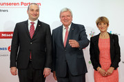 Mamuka Makhtadze, Georgian Primeminister, Volker Bouffier, Minister President of Hesse and Ursula Bouffier, attend the opening ceremony of the 2018 Frankfurt Book Fair (Frankfurter Buchmesse) on October 9, 2018 in Frankfurt am Main, Germany. The 2018 fair, which is among the world's largest book fairs, will be open to the public from October 10-14.