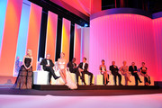 (L-R) Actress Melanie Laurent, Jury members  Robert De Niro, Uma Thurman,  Mahamat-Saleh Haroun, Jude Law, Martina Gusman, Johnnie To, Linn Ullmann, Olivier Assayas and Nansun Shi onstage at the Opening Ceremony at the Palais des Festivals during the 64th Cannes Film Festival on May 11, 2011 in Cannes, France.