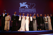 Jury members (L-R) Francesco Munzi, Nuri Bilge Ceylan, Diane Kruger, Elizabeth Banks, Emmanuel Carrere, Elisa Sednaoui, Alix Delaporte, Jonathan Demme, Fruit Chan, Paz Vega, Anita Caprioli and Saverio Costanzo attend the opening ceremony during the 72nd Venice Film Festival on September 2, 2015 in Venice, Italy.