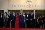 "(L-R) Jury members Ethan Coen, Sophie Marceau, Rossy de Palma, Guillermo del Toro, Rokia Traore, Xavier Dolan, Sienna Miller, Jake Gyllenhaal and Joel Coen attends the opening ceremony and premiere of ""La Tete Haute"" (""Standing Tall"") during the 68th annual Cannes Film Festival on May 13, 2015 in Cannes, France."