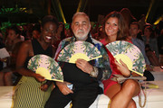 (L-R) Ivy Quainoo, Udo Walz and Sandra Thier attend the Opening Night by Grazia fashion show during the Mercedes-Benz Fashion Week Spring/Summer 2015 at Erika Hess Eisstadion on July 7, 2014 in Berlin, Germany.