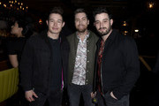 "Colton Tran, Lance Bass and Michael Turchin attend Opening Night Of ""Rock Of Ages"" Hollywood At The Bourbon Room at The Bourbon Room on January 15, 2020 in Hollywood, California."