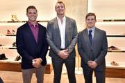 (L-R) Justin Turri, Rob Gronkowski and Davey Emala attend the Opening of the Salvatore Ferragamo Copley Place store on November 2, 2017 in Boston, Massachusetts.