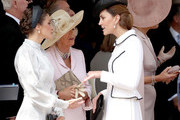 Queen Letizia of Spain, Camilla, Duchess of Cornwall and Catherine, Duchess of Cambridge at the Order of the Garter Service at St George's Chapel in Windsor Castle on June 17, 2019 in Windsor, England. The Order of the Garter is the senior and oldest British Order of Chivalry, founded by Edward III in 1348. The Garter ceremonial dates from 1948, when formal installation was revived by King George VI for the first time since 1805.