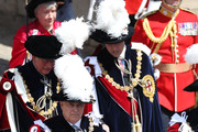 Prince Edward, Duke of Kent (Front-L), Princess Anne, Princess Royal (Front-R), Prince Andrew, Duke of York (Center-L), Prince Charles, Prince of Wales (Back-L) and Prince William, Duke of Cambridge (Back-R) march during the Order Of The Garter Service at Windsor Castle on June 18, 2018 in Windsor, England. The Order of the Garter is the senior and oldest British Order of Chivalry, founded by Edward III in 1348. The Garter ceremonial dates from 1948, when formal installation was revived by King George VI for the first time since 1805.