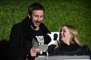 (L-R) Chris O'Dowd and Nicola Coughlan speak onstage at the Oscar Wilde Awards 2020 at Bad Robot on February 06, 2020 in Santa Monica, California.