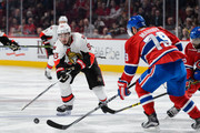 Mika Zibanejad #93 of the Ottawa Senators tries to get the puck past Andrei Markov #79 of the Montreal Canadiens during the NHL game at the Bell Centre on December 12, 2015 in Montreal, Quebec, Canada.