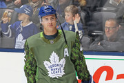 Tyler Bozak #42 of the Toronto Maple Leafs skates during the warm-up prior to playing against the Ottawa Senators in an NHL game at the Air Canada Centre on February 10, 2018 in Toronto, Ontario, Canada. The Maple Leafs defeated the Senators 6-3.