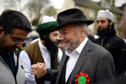 The Respect Party's George Galloway speaks to voters during his election campaigning on April 24, 2015 in Bradford, England. Britain goes to the polls in a General Election on May 7.