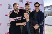 (L-R) Ken Barrett, Matthew Puccini, Michael Urie and Michael Hsu Rosen attend the Outfest Queer Brunch during the 2019 Sundance Film Festival at Grub Steak on January 27, 2019 in Park City, Utah.