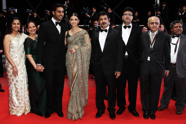 "Actor 'Chiyaan' Vikram (4r), Actress Aishwarya Rai Bachchan (4L), Abhishek Bachchan (3L) attend ""Outrage"" Premiere at the Palais des Festivals during the 63rd Annual Cannes Film Festival on May 17, 2010 in Cannes, France."