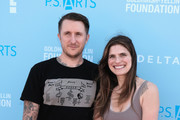 Scott Campbell, Lake Bell and son Ozgood Campbell attend P.S. Arts Express Yourself 2018 at Barker Hangar on October 7, 2018 in Santa Monica, California.