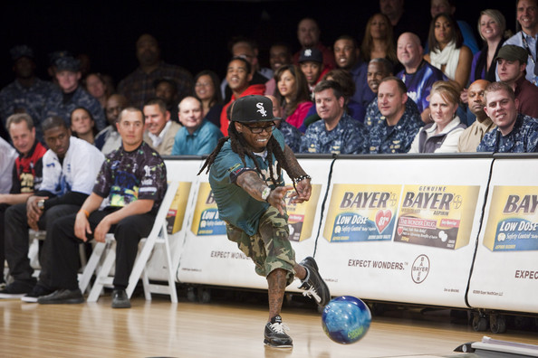 Rapper Lil Wayne bowls in the PBA Chris Paul Celebrity Bowling Invitational