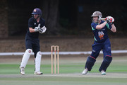 Ali Brown of PCA England Masters in action with Matthew Cross of the International XI at the stumps during the PCA Summer Garden Party at The Hurlingham Club on July 19, 2018 in London, England.
