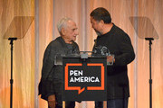 Frank Gehry and Ai Weiwei speak onstage during PEN America 2018 LitFest Gala at the Beverly Wilshire Four Seasons Hotel on November 02, 2018 in Beverly Hills, California.