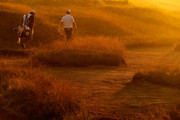 A color filter was used for this image.) Justin Rose of England (R) walks with caddie Mark Fulcher on the ninth hole during the first round of the 92nd PGA Championship on the Straits Course at Whistling Straits on August 12, 2010 in Kohler, Wisconsin.