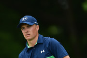 Jordan Spieth of the United States reacts to his tee shot on the fifth hole during the second round of the 2017 PGA Championship at Quail Hollow Club on August 11, 2017 in Charlotte, North Carolina.