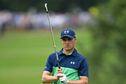 Jordan Spieth of the United States plays his shot on the third hole  during the second round of the 2017 PGA Championship at Quail Hollow Club on August 11, 2017 in Charlotte, North Carolina.