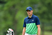 Jordan Spieth of the United States waits to play his shot from the third fairway during the second round of the 2017 PGA Championship at Quail Hollow Club on August 11, 2017 in Charlotte, North Carolina.