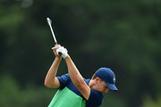 Jordan Spieth of the United States plays his shot on the fifth hole during the second round of the 2017 PGA Championship at Quail Hollow Club on August 11, 2017 in Charlotte, North Carolina.