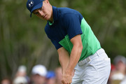 Jordan Spieth of the United States putts on the sixth hole during the second round of the 2017 PGA Championship at Quail Hollow Club on August 11, 2017 in Charlotte, North Carolina.