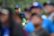 Jordan Spieth of the United States plays his shot from the sixth tee during the second round of the 2017 PGA Championship at Quail Hollow Club on August 11, 2017 in Charlotte, North Carolina.