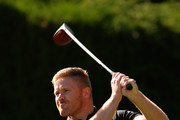 James Wright of Market Drayton Golf Club  plays his first shot on the 1st tee during the PGA Fourball  - Midlands qualifier at The Staffordshire Golf Club on July 4, 2016 in Dudley, England.
