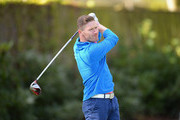 James Wright of Swindon Golf Club plays his first shot on the 1st tee during the PGA Professional Championship - Midland Qualifier at Little Aston Golf Club on April 29, 2016 in Sutton Coldfield, England.
