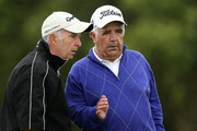 John and Mike Gallagher of Farthington Hotel & Golf during day one of the PGA Super 60s Tournament at Caldy Golf Club on August 19, 2015 in Caldy, England.