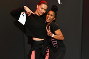 PUMA Global Ambassador Adriana Lima (L) and Deja Riley attend as PUMA And Refinery29 Host The Launch Of The New PUMA LQD CELL Shatter Shoe at Refinery29 on July 11, 2019 in New York City.