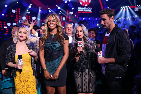 2014 iHeartRadio Music Festival - Night 2 - Show [night 2 - show,event,product,performance,drink,music artist,singing,party,talent show,performing arts,nightclub,actors,dascha polanco,pablo schreiber,taryn manning,laverne cox,l-r,mgm grand garden arena,las vegas,iheartradio music festival]