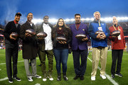 (L-R) Member of the Pac-12 All Centrury Team Ronnie Lott, Marcus Allen, Reggie Bush, Sydney Seau representing her father Junior Seau, Joey Browner, Ron Yart,  Jim McKay, on behalf of his father John McKay, stands together for this photo prior to the NCAA Pac-12 Championship game between USC Trojans and the Stanford Cardinal at Levi's Stadium on December 5, 2015 in Santa Clara, California.