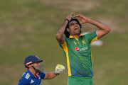 Mohammad Irfan of Pakistan reacts after bowling alongside James Taylor of England during the 1st One Day International between Pakistan and England at Zayed Cricket Stadium on November 11, 2015 in Abu Dhabi, United Arab Emirates.