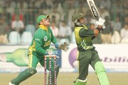 Mark Boucher of South Africa  and Shoaib Malik of Pakistan in action during the second ODI match between Pakistan and South Africa held at Gaddafi Stadium on October 20, 2007 in Lahore, Pakistan.