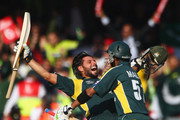 Shahid Afridi of Pakistan celebrates victory with Shoaib Malik during the ICC World Twenty20 Final between Pakistan and Sri Lanka at Lord's on June 21, 2009 in London, England.