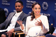 "Damon Wayans Jr. (L) and Amber Stevens West from ""Happy Together"" appear on stage at The Paley Center for Media's 2018 PaleyFest Fall TV Previews - CBS at The Paley Center for Media on September 12, 2018 in Beverly Hills, California."