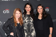 """(L-R) Sarah Schechter, Sera Gamble and Gina Girolamo from """"YOU"""" attend The Paley Center for Media's 2018 PaleyFest Fall TV Previews - Lifetime at The Paley Center for Media on September 9, 2018 in Beverly Hills, California."""