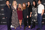 "(L-R) John Stamos, Elizabeth Lail, Caroline Kepnes, Sarah Schechter, Gina Girolamo, Sera Gamble and Penn Badgley from ""YOU"" attend The Paley Center for Media's 2018 PaleyFest Fall TV Previews - Lifetime at The Paley Center for Media on September 9, 2018 in Beverly Hills, California."