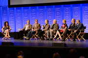 """(L-R) Executive Editor at Variety/Moderator Debra Birnbaum, writers/Executive Producers Vince Gilligan, Peter Gould, actors Bob Odenkirk, Michael McKean, Rhea Seehorn, Patrick Fabian, and Michael Mando attend The Paley Center For Media's 33rd Annual PALEYFEST Los Angeles """"Better Call Saul"""" at Dolby Theatre on March 12, 2016 in Hollywood, California."""