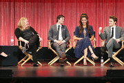 """(L-R) Moderator Kristin Dos Santos, executive producer Julie Plec, actor Ian Somerhalder, actress Nina Dobrev, actor Paul Wesley and executive producer Caroline Dries speak during The Paley Center for Media's PaleyFest 2014 Honoring """"The Vampire Diaries"""" and """"The Originals"""" at the Dolby Theatre on March 22, 2014 in Hollywood, California."""