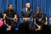 (L-R)  Actors Duane Martin, Nelly, Boris Kodjoe, Kevin Hart, and actress Cynthia Kaye McWilliams speak during The Paley Center for Media Presents 'An Evening with Real Husbands of Hollywood' at The Paley Center for Media on October 14, 2014 in Beverly Hills, California.
