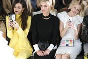Victoria Justice, Nicky Hilton and guest are seen during the Pamella Roland fashion show at Pier 59 on February 07, 2019 in New York City.