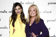 Actress Victoria Justice and designer Pamella Roland are seen backstage during the Pamella Roland fashion show during New York Fashion Week at Pier 59 on February 07, 2019 in New York City.